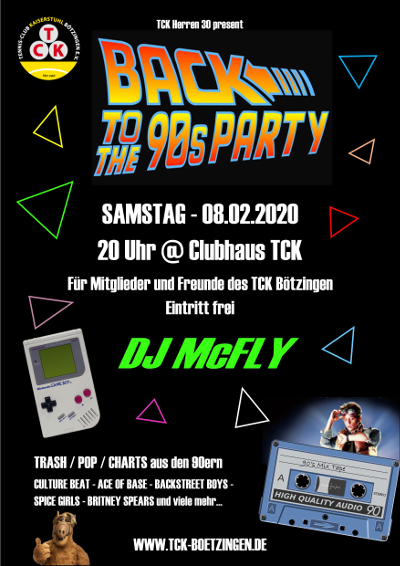 Poster Back To The 90s Party